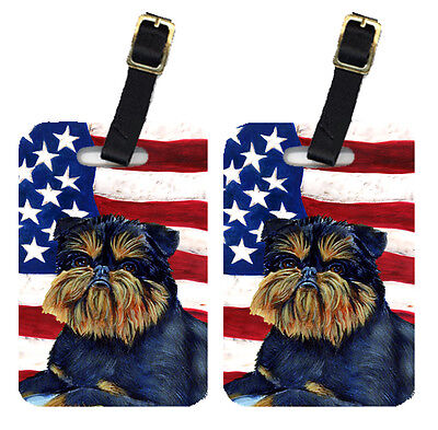 Pair of USA American Flag with Brussels Griffon Luggage Tags