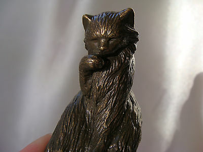 Curio Cat Animalier Bronze, Franklin Mint, With Card, 1985 Vgc