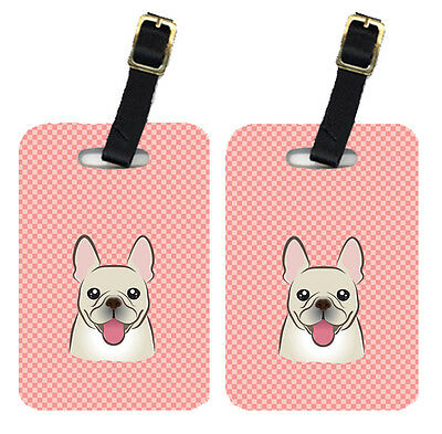 Pair of Checkerboard Pink French Bulldog Luggage Tags