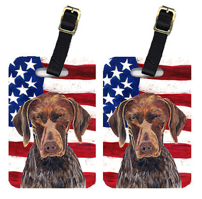 Pair of USA American Flag with German Shorthaired Pointer Luggage Tags