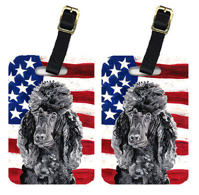 Pair of Black Standard Poodle with American Flag USA Luggage Tags