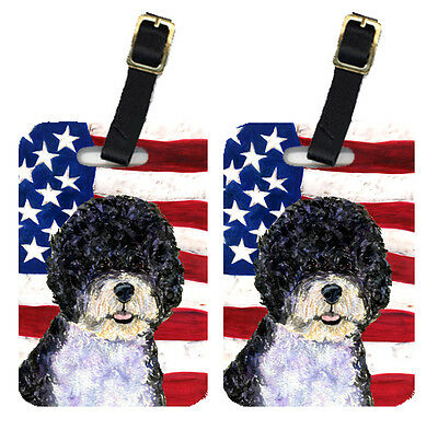 Pair of USA American Flag with Portuguese Water Dog Luggage Tags
