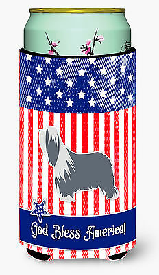 USA Patriotic Bearded Collie Tall Boy Beverage Insulator Hugger