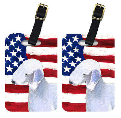 Pair of USA American Flag with Bedlington Terrier Luggage Tags