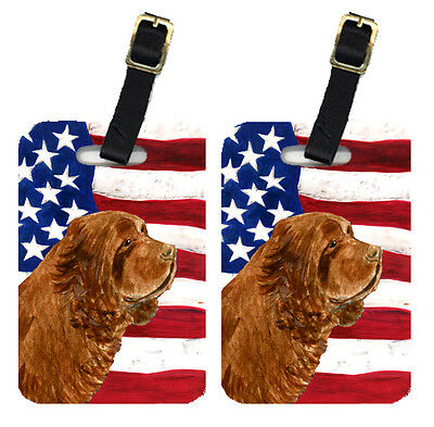 Pair of USA American Flag with Sussex Spaniel Luggage Tags