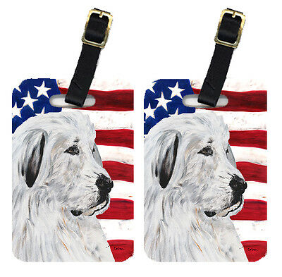 Pair of Great Pyrenees with American Flag USA Luggage Tags