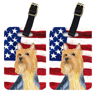 Pair of USA American Flag with Silky Terrier Luggage Tags