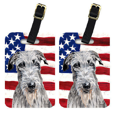Pair of Scottish Deerhound with American Flag USA Luggage Tags