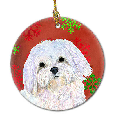 Maltese Red Snowflakes Holiday Christmas Ceramic Ornament SS4689