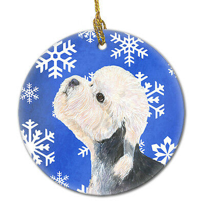 Dandie Dinmont Terrier Winter Snowflakes Holiday Christmas Ceramic Ornament