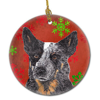 Australian Cattle Dog Red Snowflakes Holiday Christmas Ceramic Ornament SC9436