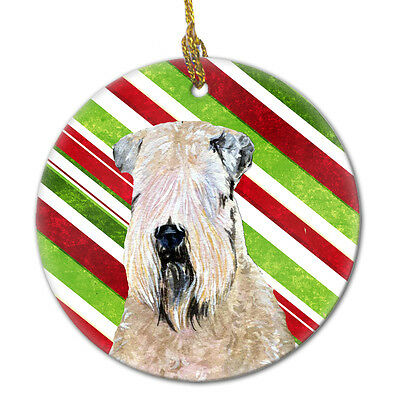 Wheaten Terrier Soft Coated Candy Cane Holiday Christmas Ceramic Ornament