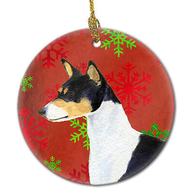 Basenji Red Snowflakes Holiday Christmas Ceramic Ornament SS4721