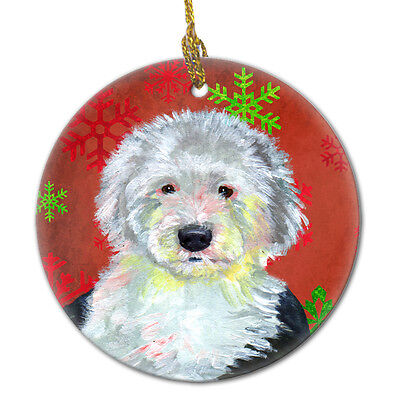 Old English Sheepdog Red Snowflake Holiday Christmas Ceramic Ornament LH9351