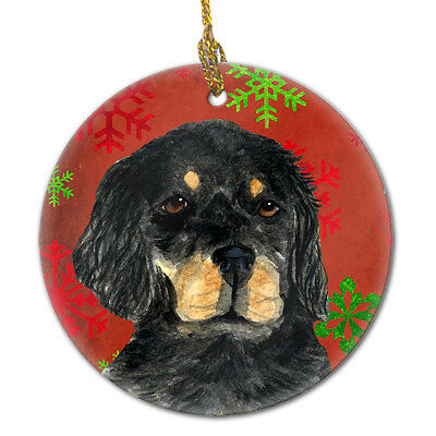 Gordon Setter Red Snowflakes Holiday Christmas Ceramic Ornament SS4722