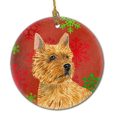 Norwich Terrier Red Snowflakes Holiday Christmas Ceramic Ornament SS4706