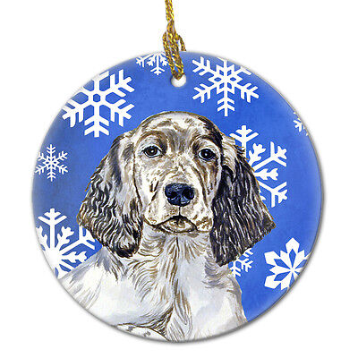English Setter Winter Snowflake Holiday Ceramic Ornament LH9277