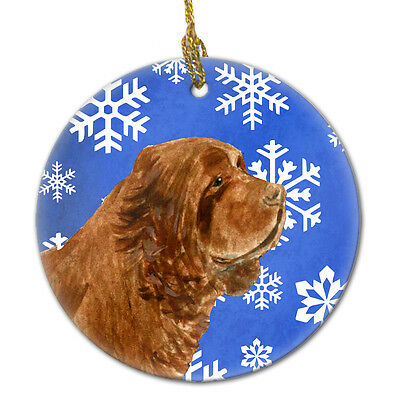 Sussex Spaniel Winter Snowflakes Holiday Christmas Ceramic Ornament SS4648