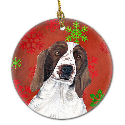 Welsh Springer Spaniel Red Snowflakes Holiday Christmas Ceramic Ornament SC9420