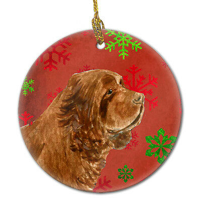 Sussex Spaniel Red Snowflakes Holiday Christmas Ceramic Ornament SS4717