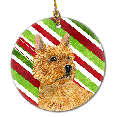 Norwich Terrier Candy Cane Holiday Christmas Ceramic Ornament SS4568