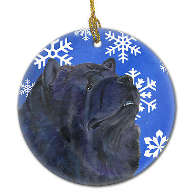 Chow Chow Winter Snowflakes Holiday Christmas Ceramic Ornament SS4639