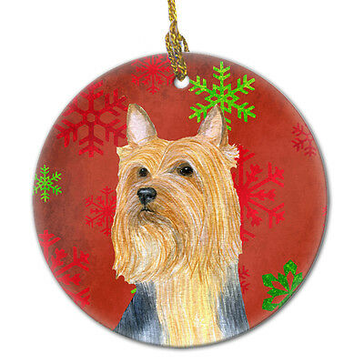 Silky Terrier Red Snowflake Holiday Christmas Ceramic Ornament LH9316