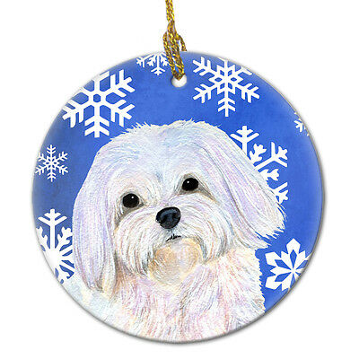 Maltese Winter Snowflakes Holiday Christmas Ceramic Ornament SS4620