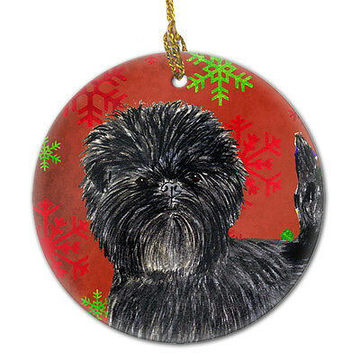 Affenpinscher Red Snowflakes Holiday Christmas Ceramic Ornament SS4718