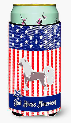 USA Patriotic Chinese Crested Tall Boy Beverage Insulator Hugger