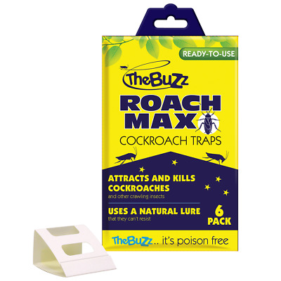 The Buzz COCKCROACH INSECT TRAPS, Baited Ready-to-Use Value Packs, 6Pc