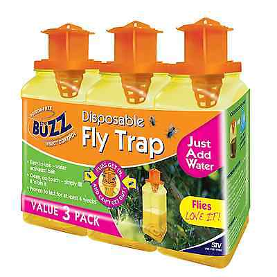 The Buzz Disposable FLY TRAP w/ Bait Attractant Poison-Free, Just Add Water, 3Pc
