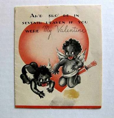1940s 2 Black Cupid Angels on Valentines Day Card Seventh Heaven