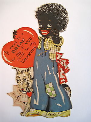 Vintage Antique Black Americana Valentine Card w/ Boy and His Dog *