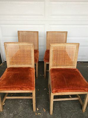 Set Of 4 Mid Century WOOD And WOVEN REED DINING CHAIRS