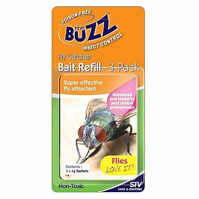 The Buzz Fly Catcher BAIT REFILL, Effective Fly Attractant, Last 2-3 Weeks, 3Pc