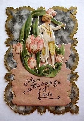 1910s Valentine's Day Card w/ Scraps of Tulips A Message of Love