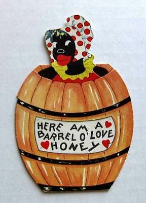 1930s Black Woman in a Barrel of Honey Valentines Day Card