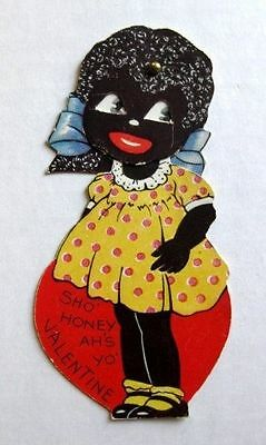 1941 Mechanical Black Girl Sho' Honey Valentine's Day Card