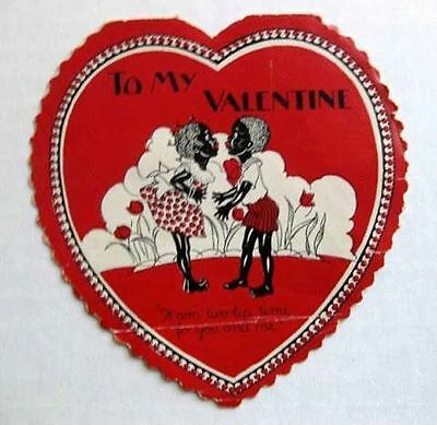 Vintage 1930s Black Couple on Heart Shape Valentine's Day Card