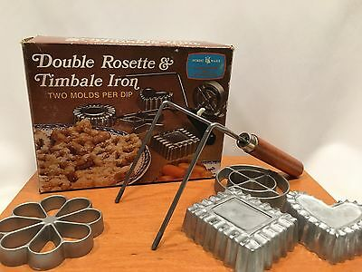Double Rosestte & Timbale Iron Vintage Nordic Ware 4 Form Molds Set Box Cookie
