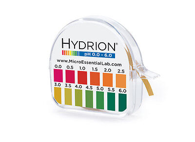 pH Test Paper Strip Roll Approx 100 Tests  pH 0.0 - 6.0 Litmus Paper Short Range