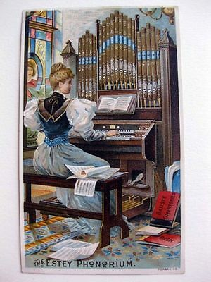 1880s Ad Trade Card For The Estey Phonorium Organ Colorful Woman Playing It!