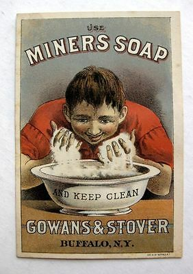 1880s Advertising Trade Card Use Miners Soap Guy Washing Face in Basin