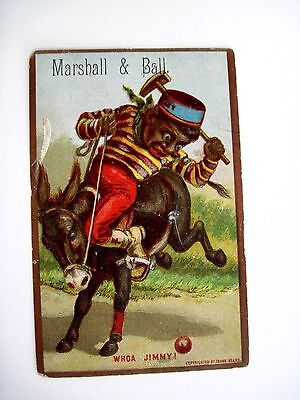 """Great 1800's Black Americana Trade Card for """"Marshall & Ball Clothiers"""" *"""
