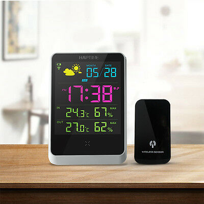 New Weather Station Meter Digital Alarm Clock With LED Screen Date Time Display