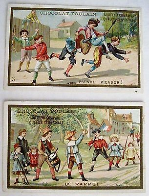 """Set of 2 Victorian French Trade Cards for """"Chocolat Poulain"""" Children Playing *"""