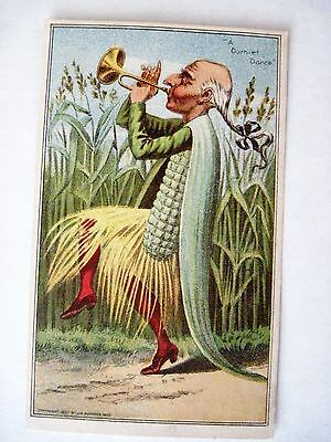 "Vintage 1887 Trade Card for ""Wheeler & Wilson"" Sewing Machines w/ Corn Man *"