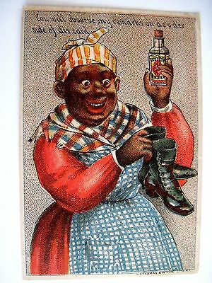 """Vintage Black Americana Victorian Trade Card for """"Queen's Dressing"""" Shoe Polish*"""