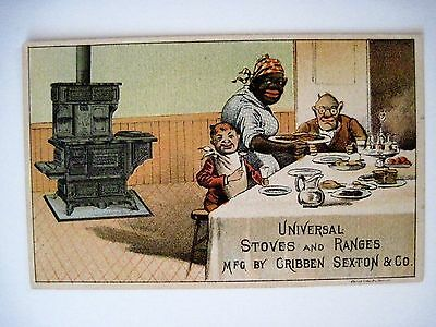 "Vintage Black Americana Victorian Trade Card for ""Universal Stoves & Ranges"" *"
